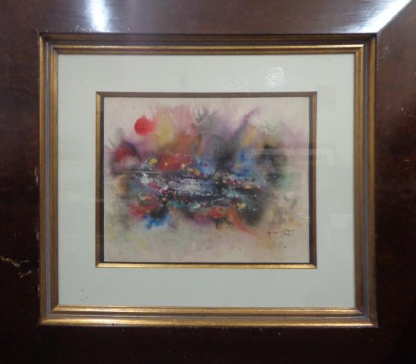 AM000, BANDEIRA, aquarela, abstrato, medindo 30 x 24 cm.