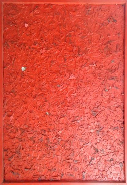 "AM000, ZARAGOZA, técnica mista sobre madeira, ""Chaves"", medindo 80 x 118 cm."
