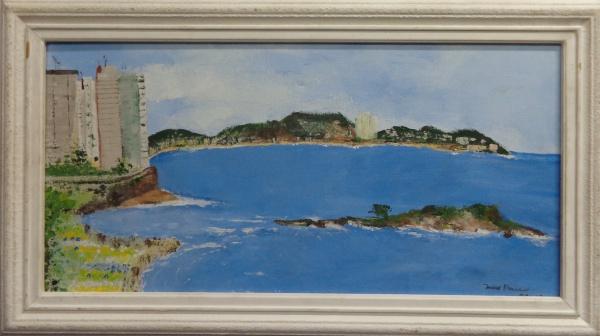 AM001, ASSINATURA ILEGÍVEL, óleo sobre tela, representando marinha, medindo 59 x 29 cm.