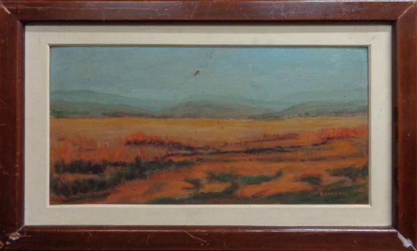 AM001, L. GREGORY, óleo sobre placa, representando paisagem, medindo 51 x 25 cm. Necessita pequeno r