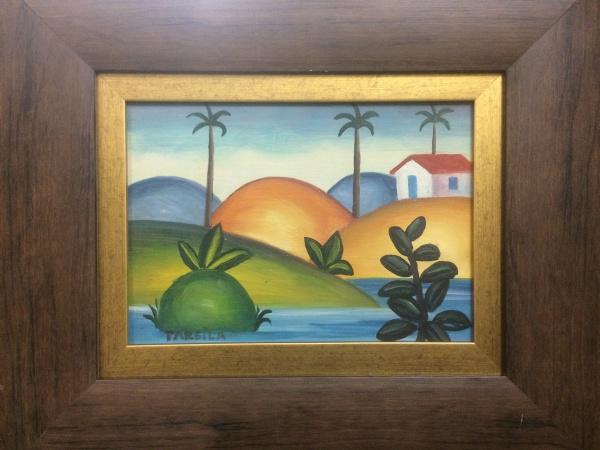 AM000, TARSILA DO AMARAL, guache sobre cartão, representando paisagem, medindo 20 x 14 cm.
