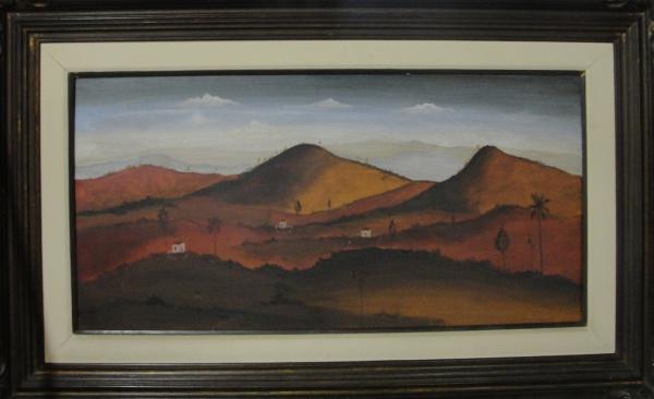 AM002, ORLANDO TERUZ, óleo sobre tela, representando paisagem, medindo 100 x 50 cm.