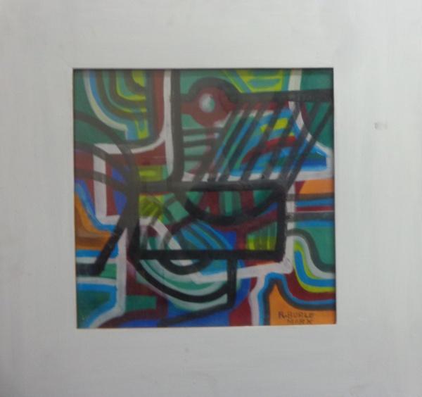AM002, R. BURLE-MARX, guache sobre cartão, abstrato, medindo 40 x 40 cm.