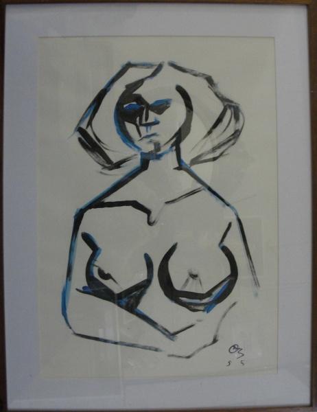 AM002, BANDEIRA, aquarela, representando nu feminino, medindo 42 x 59 cm.