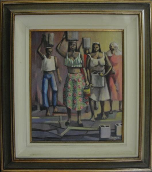 AM002, F. DINHEIRO, óleo sobre tela, representando figuras, medindo 38 x 45 cm.