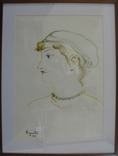 AM002, REYNALDO, aquarela, representando figura feminina, medindo 41 x 59 cm.