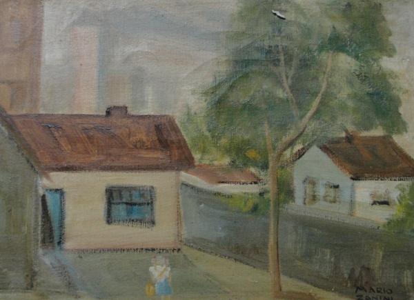 "AM002, MARIO ZANINI, óleo sobre tela, ""Casario"", medindo 33 x 24 cm. Sem moldura."