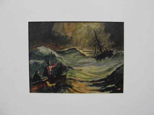 AM092, E. DE MARTINI, aquarela, representando marinha com figuras, medindo 18 x 14 cm. Sem moldura.