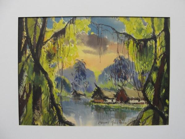 AM092, HELIOS SEELINGER, guache sobre cartão, representando paisagem, medindo 31 x 22 cm. Sem moldur