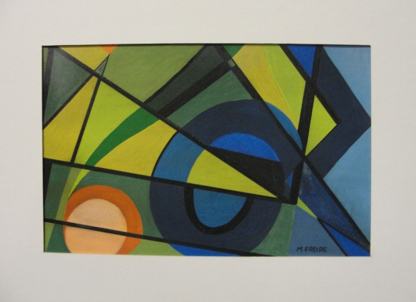 AM092, MARIA FREIRE, guache sobre cartão, geométrico, medindo 28 x 18 cm. Sem moldura.