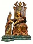 """ARTE SACRA - """"Santana Mestra"""" - Antiga imagem brasileira do Séc. XIX esculpida em madeira nobre apresentando rica policromia, medindo: 38 cm alt."""