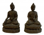 ESCULTURAS ORIENTAIS- lote contendo par de esculturas de bronze, medindo 22 cm alt.