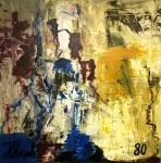 """JORGE GUINLE- datado 1980, ost medindo 100 x 100 cm , intitulado """"Abstrato""""."""