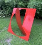 GRANDIOSA E MARAVILHOSO FRANZ WASSMAN - Escultura de ferro pintado na cor predominante vermelha,medindo: 1,24 m x 1,14 m (possui desgastes do tempo)