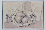 """Carlos Scliar (1920, Santa Maria, RS - 2001, Rio de Janeiro, RJ), """"Natureza morta"""". Técnica mista sobre papel (nanquim, guache e lápis). Assinado e datado 14.05.1946. Presença de pontos de acidez sobre o papel. No Estado. 21 x 30 cm(obra); 48 x 57 cm(moldura).Coleção Particular Maria Inez e Alfredo Souto de Almeida - Rio de Janeiro/RJ."""