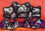 """Frank Schaeffer (Belo Horizonte, 1917 - Rio de Janeiro, 2008), """"Sem título"""". Guache sobre papel.Assinada e datada 1973. Presença de pontos de acidez. No Estado. 35 x 50 cm(obra); Sem moldura .Coleção Particular Maria Inez e Alfredo Souto de Almeida - Rio de Janeiro/RJ.Nota: Obra sem moldura."""