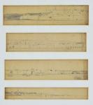 """Assinatura não identificada, """"FC"""", """" Porto Sousa"""", lápis e crayon, Conjunto composto por quatro estudos iconográficos sendo  Med. 6 x 24 cm(a obra), Med. 5,5 x 23 cm(a obra);Med. 5,5 x 23 cm(a obra);Med. 3,5 x 24 cm(a obra) e 39 x 36 cm (a moldura). Pontos de acidez. No estado. Coleção particular Eliane Maria de jesus Rio de Janeiro/RJ, proveniente do espólio de Romaric  Buel."""