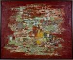 """Aloísio Barbosa Magalhães (Recife, Pernambuco, 1927 - Pádua, Itália 1982), """"Sem título"""", óleo sobre tela,.Assinado no verso da obra. Med. 80 x 99 cm(a obra); 83 x 102 cm (a moldura). Marcas do tempo. Pequenas faltas. NOTA: Esta obra não poderá ser enviada pelos correios.NOTA BIOGRÁFICA: BiografiaAloísio Barbosa Magalhães (Recife, Pernambuco, 1927 - Pádua, Itália 1982). Pintor, designer, gravador, cenógrafo, figurinista. Forma-se em direito pela Universidade Federal de Pernambuco (UFPE), em 1950. Nessa época, participa do Teatro do Estudante de Pernambuco (TEP), onde exerce as funções de cenógrafo e figurinista, além de ser responsável pelo teatro de bonecos. Com bolsa do governo francês, estuda museologia em Paris, entre 1951 e 1953, também frequenta o Atelier 17, um centro de divulgação de técnicas de gravura, onde é aluno do gravador Stanley William Hayter (1901-1988). Volta ao Brasil em 1953. Em 1956, com bolsa concedida pelo governo americano, viaja aos Estados Unidos, onde se dedica às artes gráficas e à programação visual. Publica, com Eugene Feldman, os livros Doorway to Portuguese e Doorway to Brasília, e leciona na Philadelphia Museum School of Art. Em 1960, volta ao Brasil e abre um escritório voltado à comunicação visual, campo no qual é um dos pioneiros no país, e realiza projetos para empresas e órgãos públicos. Em 1963, colabora na criação da Escola Superior de Desenho Industrial (Esdi), onde leciona comunicação visual. Cria, em 1964, o símbolo do 4º Centenário do Rio de Janeiro, seu primeiro trabalho de grande repercussão pública e, no ano seguinte, desenha o símbolo para a Fundação Bienal de São Paulo. Desde 1966, desenvolve desenhos para notas e moedas brasileiras. Em 1979, é nomeado diretor do Instituto do Patrimônio Histórico e Artístico Nacional (Iphan) e, no ano seguinte, presidente da Fundação Nacional Pró-Memória, quando inicia campanha pela preservação do patrimônio histórico brasileiro. Em sua homenagem, a Galeria Metropolitana de Arte do Re"""