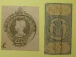 Filatelia, 400 Réis, ano de 1908, com carimbo de postagem + imposto de selo emblema real!!