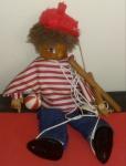 Raridade, marionete profissional em madeira, perfeito estado, altura de 32 cm, roupa perfeita
