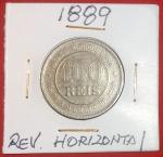 Moeda Brasil, 100 Réis, ano de 1889, Reverso Horizontal!! Raridade, Soberbissima