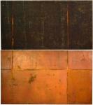 """José Bechara (Rio de Janeiro RJ 1957), """"Paramarelo"""". Óleo e pigmento/oxidação de aço  sobre lona. Díptico .Assinado e datado 2004.  Reproduzido no livro do artista,  """"José Bechara de Agnaldo Farias, Editora Barléu, págs. 65 e 268"""".  Díptico composto por 2 telas med. 1,35 x 2,30 m (cada uma). 2,70 x 2,30 m (medidas totais). Marcas do tempo. Coleção Particular Rio de Janeiro/RJ. Esta obra não poderá ser enviada pelos correios. Nota Biográfica do artista: José Bechara (Rio de Janeiro RJ 1957). Pintor. Estuda na Escola de Artes Visuais do Parque Lage - EAV/Parque Lage, entre 1987 e 1991. Inicia sua atividade artística no final da década de 1980, e realiza sua primeira exposição individual no Centro Cultural Cândido Mendes - CCCM, em 1992. No ano seguinte, participa do 13º Salão Nacional de Artes Plásticas, onde recebe prêmio aquisição. Desde o início da década de 1990, utiliza o processo de oxidação sobre lonas de caminhões como base de seus trabalhos, e experimenta outros suportes, como a pele de boi. Participa de diversas exposições nacionais e internacionais, entre elas, a 25ª Bienal Internacional de São Paulo, na Fundação Bienal, em 2002, e o 29º Panorama da Arte Brasileira, no Museu de Arte Moderna de São Paulo (MAM/SP), em 2005. Em 2002, é palestrante do workshop Dynamic Encounters International Art Workshop: São Paulo - Rio 2002. Lançamento do livro José Bechara, desenhos: como uma piscada de vaga-lume publicado pela Editora Réptil."""