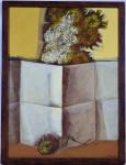 """Glênio Alves Branco Bianchetti (Bagé, Rio Grande do Sul, 1928), """"Sem título"""", Acrílica sobre tela colada sobre madeira, Assinado e datado 1982.  Med. 54 x 40 cm( a obra); 57 x 44 cm (a moldura).  Breve Biografia: Gravador, pintor, ilustrador, tapeceiro, professor e desenhista. Inicia estudos artísticos em Bagé, na década de 1940, junto com Glauco Rodrigues (1929-2004), sob orientação de José Moraes (1921-2003). Em 1949, ingressa no Instituto de Belas Artes de Porto Alegre. Funda, em 1951, ao lado de Glauco Rodrigues e Danúbio Gonçalves (1925), o Clube de Gravura de Bagé, posteriormente incorporado ao Clube de Gravura de Porto Alegre, grupo que realiza uma produção artística de caráter social, do qual participam também Carlos Scliar (1920-2001) e Vasco Prado (1914-1998). Na década de 1950, Bianchetti produz xilografia e linoleogravura com temas relacionados ao trabalho e aos costumes regionais. A partir dos anos 1960, trabalha principalmente com pintura, litografia e gravura em metal. Em 1962, leciona desenho e pintura na recém-inaugurada Universidade de Brasília - UnB, na qual permanece até 1965, quando é afastado pelo regime militar. No início da década de 1970, colabora na criação do Museu de Arte de Brasília e participa de projetos voltados ao ensino artístico. Em 1988, é reintegrado à UnB. Entre 1996 e 1997, é organizada mostra retrospectiva do Grupo de Bagé com exposições em várias capitais. É homenageado com a retrospectiva dos seus 50 anos de carreira, em 1999, no Palácio do Itamaraty, em Brasília. Em 2004 é publicado livro Glenio Bianchetti, de autoria de José Paulo Bertoni."""