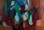"""Roberto Burle Marx - 1985 - Magnífico óleo sobre tela, """"Abstrato"""", assinado e datado no C.I.D. Obra med. 110x160cm. Acervo Particular - RJ. Não pode ser enviado pelos Correios. Acompanha documento de Transferência de Propriedade."""