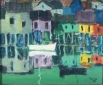 Orlando Brito (1920 - 1981) - Palafitas do Caju (Rio de Janeiro), assinado no cid. e assinado e datado no verso, 1979. OSE 12 x 15 cm.