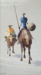Romanelli (Armando Romanelli, 1945) - Dom Quixote, OST 80 x 45 cm. Assinado do CIE e assinado, localizado e datado no verso. Rio, 1988.