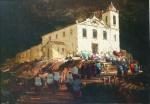 Romanelli (Armando Romanelli, 1945)  - Igreja, OST 70 x 100 cm. Assinado no CIE e assinado datado no verso, 1988. Importante obra do artista, extraordinária qualidade.