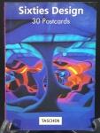 TASCHEN - Sixties Design PostcardBook - Encadernação com 30 postais de temas alusivos à década de 60: Beatles, Cream, Ilustrações modernistas, objetos de design, mobiliário, posters de filmes (James Bond 007). 16 x 11,5 cm. Excelente estado de conservação.