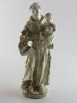 Escultura de gesso representando Santo Antônio, com avarias na altura do pescoço. Altura 28 cm.