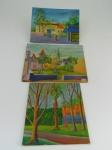 Lote composto por 3 quadros óleo sobre papelão , 1) altura  23 cm, largura 30 cm, 2) altura 21 cm, largura 28 cm, 3) altura 25 cm, largura 23 cm.