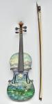 """GUIGNARD, Alberto da Veiga - """"Paisagem de Ouro Preto"""" pintada sobre antigo violino em dupla face, assinada. Certificado pelo instituto """"Guignard"""". Med.: 61x21 cm."""