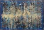 """ANTONIO BANDEIRA - """"Abstrato"""", O.S.T., assinado o canto inferior direito e datado em 64, assinado e datado também no verso, apresenta laudo de restauração do ateliê """" Claudio Valério Teixeira"""" Centro de Conservação de Bens Culturais, obra pertenceu a família do Sr. Vice Presidente da República (19691974) Augusto Hamann Rademaker Grünewald. Med.: 90 x 1,32 cm."""