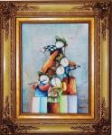 J.Roybol, óleo sobre tela, assinado e ricamente emoldurado. Medida da tela 40x30cm e com moldura 60x50cm.
