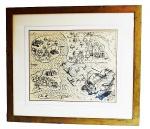 """Grande mapa """" O NAÚFRAGIO"""" reprodução a partir do original do século XVI, emoldurado e com proteção de vidro. Medida 86x97cm. Devido a sua dimensão e fragilidade este item não pode ser enviado pelos correios"""