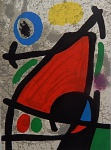 """Litografia original do artista Miró, retirada da revista Derriere le Miroir , editada em Maio de 1967 na França (não assinada pelo artista),  medindo: 38 cm x 28 cm. Esta litografia pertenceu a Hansen Bahia que fez anotações  no verso.  Acompanha a litografia a revista original (incompleta). 'Derriere le Miroir' acompanhou cada exposição na Galerie Maeght em Paris, França. A primeira edição apareceu em 1946, The last # 253 da coleção em 1982. DLM nasce da paixão de Aime e Marguerite Maeght. As primeiras edições foram planejadas por Aime Maeght para serem difundidas entre um grande público, com litografias originais. 10.000 cópias foram impressas e distribuídas através de quiosques. Isto falhou completamente e as restantes cópias foram vendidas em peso para financiar a impressão da quarta edição, que foi impressa em apenas 1500 cópias e foi o catálogo da exposição George Braque na Galerie. Jacques Kober e René Char escreveram os textos. Este conceito foi continuado em edições posteriores, combinando grandes escritores com grandes artistas. Em 1947, Adrien Maeght, juntou-se à empresa de seus pais e auxiliou seu pai no layout e na execução. Os artistas criaram litografias originais para ilustrar o DLM. O Mourlot fez a impressão litográfica e o texto foi impresso pela Union nos números 4-115. De 116 a 148, DLM foi filmado nos estúdios de Aime Maeght. Desde 1960, uma edição """"deluxe"""" foi publicada, em papel Arches, limitada a 150 cópias. Em 1964, Adrien Maeght criou a empresa de impressão ARTE, que projetou e imprimiu as edições 149-232. Todos incluíam litografias. Após a morte de Marguerite Maeght em 1977, os últimos números foram feitos na empresa de impressão Lion, com menos litografias. Alguns problemas foram reimpressos. Na edição 250, Aime Maeght queria prestar homenagem a todos aqueles que tinham seu nome associado ao DLM. Aime morreu em 1981 e o número 250 se tornou uma homenagem a Marguerite e Aime Maeght por trinta e cinco anos de amizade com os artistas e poeta"""
