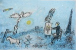 """Litografia original do artista Marc Chagall, retirada da revista Derriere le Miroir , editada em 1977 na França (não assinada pelo artista),  em folha dupla, medindo: 38 cm x 56 cm. Esta litografia pertenceu a Hansen Bahia que fez anotações. Com marcas do tempo e pequeno furo na gravura. 'Derriere le Miroir' acompanhou cada exposição na Galerie Maeght em Paris, França. A primeira edição apareceu em 1946, The last # 253 da coleção em 1982. DLM nasce da paixão de Aime e Marguerite Maeght. As primeiras edições foram planejadas por Aime Maeght para serem difundidas entre um grande público, com litografias originais. 10.000 cópias foram impressas e distribuídas através de quiosques. Isto falhou completamente e as restantes cópias foram vendidas em peso para financiar a impressão da quarta edição, que foi impressa em apenas 1500 cópias e foi o catálogo da exposição George Braque na Galerie. Jacques Kober e René Char escreveram os textos. Este conceito foi continuado em edições posteriores, combinando grandes escritores com grandes artistas. Em 1947, Adrien Maeght, juntou-se à empresa de seus pais e auxiliou seu pai no layout e na execução. Os artistas criaram litografias originais para ilustrar o DLM. O Mourlot fez a impressão litográfica e o texto foi impresso pela Union nos números 4-115. De 116 a 148, DLM foi filmado nos estúdios de Aime Maeght. Desde 1960, uma edição """"deluxe"""" foi publicada, em papel Arches, limitada a 150 cópias. Em 1964, Adrien Maeght criou a empresa de impressão ARTE, que projetou e imprimiu as edições 149-232. Todos incluíam litografias. Após a morte de Marguerite Maeght em 1977, os últimos números foram feitos na empresa de impressão Lion, com menos litografias. Alguns problemas foram reimpressos. Na edição 250, Aime Maeght queria prestar homenagem a todos aqueles que tinham seu nome associado ao DLM. Aime morreu em 1981 e o número 250 se tornou uma homenagem a Marguerite e Aime Maeght por trinta e cinco anos de amizade com os artistas e poetas."""