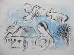 """Litografia original do artista Marc Chagall, retirada da revista Derriere le Miroir , editada em 1981 na França (não assinada pelo artista),  em folha dupla, medindo: 38 cm x 56 cm. Esta litografia pertenceu a Hansen Bahia que fez anotações. Com marcas do tempo. 'Derriere le Miroir' acompanhou cada exposição na Galerie Maeght em Paris, França. A primeira edição apareceu em 1946, The last # 253 da coleção em 1982. DLM nasce da paixão de Aime e Marguerite Maeght. As primeiras edições foram planejadas por Aime Maeght para serem difundidas entre um grande público, com litografias originais. 10.000 cópias foram impressas e distribuídas através de quiosques. Isto falhou completamente e as restantes cópias foram vendidas em peso para financiar a impressão da quarta edição, que foi impressa em apenas 1500 cópias e foi o catálogo da exposição George Braque na Galerie. Jacques Kober e René Char escreveram os textos. Este conceito foi continuado em edições posteriores, combinando grandes escritores com grandes artistas. Em 1947, Adrien Maeght, juntou-se à empresa de seus pais e auxiliou seu pai no layout e na execução. Os artistas criaram litografias originais para ilustrar o DLM. O Mourlot fez a impressão litográfica e o texto foi impresso pela Union nos números 4-115. De 116 a 148, DLM foi filmado nos estúdios de Aime Maeght. Desde 1960, uma edição """"deluxe"""" foi publicada, em papel Arches, limitada a 150 cópias. Em 1964, Adrien Maeght criou a empresa de impressão ARTE, que projetou e imprimiu as edições 149-232. Todos incluíam litografias. Após a morte de Marguerite Maeght em 1977, os últimos números foram feitos na empresa de impressão Lion, com menos litografias. Alguns problemas foram reimpressos. Na edição 250, Aime Maeght queria prestar homenagem a todos aqueles que tinham seu nome associado ao DLM. Aime morreu em 1981 e o número 250 se tornou uma homenagem a Marguerite e Aime Maeght por trinta e cinco anos de amizade com os artistas e poetas."""