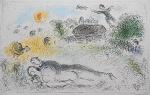 """Litografia original do artista Marc Chagall, retirada da revista Derriere le Miroir , editada na França (não assinada pelo artista),  em folha dupla, medindo: 38 cm x 56 cm. Esta litografia pertenceu a Hansen Bahia. 'Derriere le Miroir' acompanhou cada exposição na Galerie Maeght em Paris, França. A primeira edição apareceu em 1946, The last # 253 da coleção em 1982. DLM nasce da paixão de Aime e Marguerite Maeght. As primeiras edições foram planejadas por Aime Maeght para serem difundidas entre um grande público, com litografias originais. 10.000 cópias foram impressas e distribuídas através de quiosques. Isto falhou completamente e as restantes cópias foram vendidas em peso para financiar a impressão da quarta edição, que foi impressa em apenas 1500 cópias e foi o catálogo da exposição George Braque na Galerie. Jacques Kober e René Char escreveram os textos. Este conceito foi continuado em edições posteriores, combinando grandes escritores com grandes artistas. Em 1947, Adrien Maeght, juntou-se à empresa de seus pais e auxiliou seu pai no layout e na execução. Os artistas criaram litografias originais para ilustrar o DLM. O Mourlot fez a impressão litográfica e o texto foi impresso pela Union nos números 4-115. De 116 a 148, DLM foi filmado nos estúdios de Aime Maeght. Desde 1960, uma edição """"deluxe"""" foi publicada, em papel Arches, limitada a 150 cópias. Em 1964, Adrien Maeght criou a empresa de impressão ARTE, que projetou e imprimiu as edições 149-232. Todos incluíam litografias. Após a morte de Marguerite Maeght em 1977, os últimos números foram feitos na empresa de impressão Lion, com menos litografias. Alguns problemas foram reimpressos. Na edição 250, Aime Maeght queria prestar homenagem a todos aqueles que tinham seu nome associado ao DLM. Aime morreu em 1981 e o número 250 se tornou uma homenagem a Marguerite e Aime Maeght por trinta e cinco anos de amizade com os artistas e poetas."""