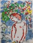 """Litografia original do artista Marc Chagall, retirada da revista Derriere le Miroir , editada na França (não assinada pelo artista),  medindo: 38 cm x 28 cm. Esta litografia pertenceu a Hansen Bahia, que fez anotações no verso. 'Derriere le Miroir' acompanhou cada exposição na Galerie Maeght em Paris, França. A primeira edição apareceu em 1946, The last # 253 da coleção em 1982. DLM nasce da paixão de Aime e Marguerite Maeght. As primeiras edições foram planejadas por Aime Maeght para serem difundidas entre um grande público, com litografias originais. 10.000 cópias foram impressas e distribuídas através de quiosques. Isto falhou completamente e as restantes cópias foram vendidas em peso para financiar a impressão da quarta edição, que foi impressa em apenas 1500 cópias e foi o catálogo da exposição George Braque na Galerie. Jacques Kober e René Char escreveram os textos. Este conceito foi continuado em edições posteriores, combinando grandes escritores com grandes artistas. Em 1947, Adrien Maeght, juntou-se à empresa de seus pais e auxiliou seu pai no layout e na execução. Os artistas criaram litografias originais para ilustrar o DLM. O Mourlot fez a impressão litográfica e o texto foi impresso pela Union nos números 4-115. De 116 a 148, DLM foi filmado nos estúdios de Aime Maeght. Desde 1960, uma edição """"deluxe"""" foi publicada, em papel Arches, limitada a 150 cópias. Em 1964, Adrien Maeght criou a empresa de impressão ARTE, que projetou e imprimiu as edições 149-232. Todos incluíam litografias. Após a morte de Marguerite Maeght em 1977, os últimos números foram feitos na empresa de impressão Lion, com menos litografias. Alguns problemas foram reimpressos. Na edição 250, Aime Maeght queria prestar homenagem a todos aqueles que tinham seu nome associado ao DLM. Aime morreu em 1981 e o número 250 se tornou uma homenagem a Marguerite e Aime Maeght por trinta e cinco anos de amizade com os artistas e poetas."""