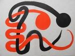 """Litografia original do artista Calder, retirada da revista Derriere le Miroir (capa) , editada na França (não assinada pelo artista),  medindo: 38 cm x 56 cm. Esta litografia pertenceu a Hansen Bahia. 'Derriere le Miroir' acompanhou cada exposição na Galerie Maeght em Paris, França. A primeira edição apareceu em 1946, The last # 253 da coleção em 1982. DLM nasce da paixão de Aime e Marguerite Maeght. As primeiras edições foram planejadas por Aime Maeght para serem difundidas entre um grande público, com litografias originais. 10.000 cópias foram impressas e distribuídas através de quiosques. Isto falhou completamente e as restantes cópias foram vendidas em peso para financiar a impressão da quarta edição, que foi impressa em apenas 1500 cópias e foi o catálogo da exposição George Braque na Galerie. Jacques Kober e René Char escreveram os textos. Este conceito foi continuado em edições posteriores, combinando grandes escritores com grandes artistas. Em 1947, Adrien Maeght, juntou-se à empresa de seus pais e auxiliou seu pai no layout e na execução. Os artistas criaram litografias originais para ilustrar o DLM. O Mourlot fez a impressão litográfica e o texto foi impresso pela Union nos números 4-115. De 116 a 148, DLM foi filmado nos estúdios de Aime Maeght. Desde 1960, uma edição """"deluxe"""" foi publicada, em papel Arches, limitada a 150 cópias. Em 1964, Adrien Maeght criou a empresa de impressão ARTE, que projetou e imprimiu as edições 149-232. Todos incluíam litografias. Após a morte de Marguerite Maeght em 1977, os últimos números foram feitos na empresa de impressão Lion, com menos litografias. Alguns problemas foram reimpressos. Na edição 250, Aime Maeght queria prestar homenagem a todos aqueles que tinham seu nome associado ao DLM. Aime morreu em 1981 e o número 250 se tornou uma homenagem a Marguerite e Aime Maeght por trinta e cinco anos de amizade com os artistas e poetas."""