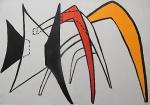 """Litografia original do artista Calder, retirada da revista Derriere le Miroir , editada na França (não assinada pelo artista),  medindo: 38 cm x 56 cm. Esta litografia pertenceu a Hansen Bahia. 'Derriere le Miroir' acompanhou cada exposição na Galerie Maeght em Paris, França. A primeira edição apareceu em 1946, The last # 253 da coleção em 1982. DLM nasce da paixão de Aime e Marguerite Maeght. As primeiras edições foram planejadas por Aime Maeght para serem difundidas entre um grande público, com litografias originais. 10.000 cópias foram impressas e distribuídas através de quiosques. Isto falhou completamente e as restantes cópias foram vendidas em peso para financiar a impressão da quarta edição, que foi impressa em apenas 1500 cópias e foi o catálogo da exposição George Braque na Galerie. Jacques Kober e René Char escreveram os textos. Este conceito foi continuado em edições posteriores, combinando grandes escritores com grandes artistas. Em 1947, Adrien Maeght, juntou-se à empresa de seus pais e auxiliou seu pai no layout e na execução. Os artistas criaram litografias originais para ilustrar o DLM. O Mourlot fez a impressão litográfica e o texto foi impresso pela Union nos números 4-115. De 116 a 148, DLM foi filmado nos estúdios de Aime Maeght. Desde 1960, uma edição """"deluxe"""" foi publicada, em papel Arches, limitada a 150 cópias. Em 1964, Adrien Maeght criou a empresa de impressão ARTE, que projetou e imprimiu as edições 149-232. Todos incluíam litografias. Após a morte de Marguerite Maeght em 1977, os últimos números foram feitos na empresa de impressão Lion, com menos litografias. Alguns problemas foram reimpressos. Na edição 250, Aime Maeght queria prestar homenagem a todos aqueles que tinham seu nome associado ao DLM. Aime morreu em 1981 e o número 250 se tornou uma homenagem a Marguerite e Aime Maeght por trinta e cinco anos de amizade com os artistas e poetas."""