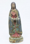 SAGRADO CORAÇÃO DE MARIA - Imagem esculpida em madeira policromada, Brasil - Séc. XIX. Alt. 16,5 cm.