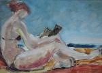 """ASSINATURA ILEGÍVEL - """"Mulher na Praia"""", o.s.e., 16 X 21 cm, assinado no c.i.d."""