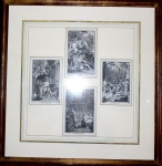 """Conjunto com 4 gravuras miniaturas emoldurada, representando """"Cenas Medievais"""", Medida de cada gravura: 13,5 X 9."""
