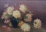 """Georgina de Albuquerque (São Paulo, Taubaté, 1885 Rio de Janeiro, RJ, 1962). """"Vaso de Flores"""",. o.s.e, 50 X 70 cm."""