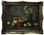 """G.A WEIS (Sec XIX) """"Mesa com Frutas, Vaso de Flores e Adereços"""", o.s.t, 55 x 70 cm, assinado."""